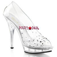 Lip-182, Clear Peep-Toe Heel with Rhinestone
