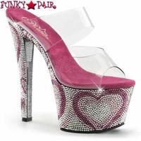 Bejeweled-702HT, 7 Inch Heel with Heart Rhinestones Platform Sandal