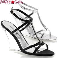 Lovely-428, 4 Inch Wedge T-Strap Rhinestones Sandal Made By PLEASER Shoes