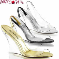 Lovely-450, 4 inch Clear Slingback Wedge Made By PLEASER Shoes