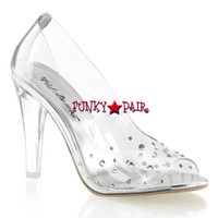 Clearly-420, 4.5 Inch Clear Heel Peep Toe Pump **COMING SOON IN NOV**