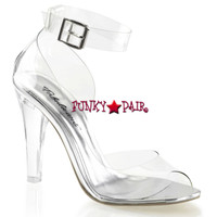 Clearly-430, 4.5 Inch Clear Heel Close Back Sandal Made By PLEASER Shoes