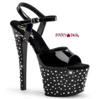 Stardance-709, 7 Inch Heel Multi-Size Rhinestones Ankle Strap Sandal
