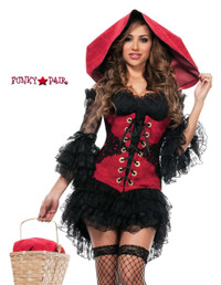 S4516, Mischievous Red Girl Costume front view