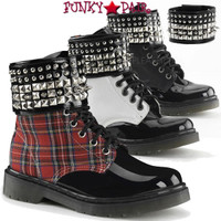 RAGE-106, Spike and Studs Ankle Cuff Combat Women Punk boots Mady By Demonia