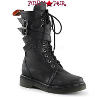 RAGE-307, Woman Calf Combat Women Punk boots Mady By Demonia