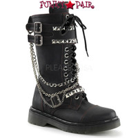 RAGE-315, Woman Combat Boots with Chains Women Punk boots Mady By Demonia