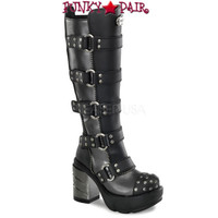 SINISTER-302, 3.5 Inch Studded Knee High Women Punk boots Mady By Demonia