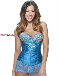 C1203, Rhinestone Blue Corset Made by Mysery House