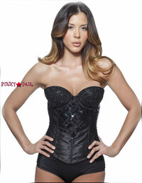 C1202, Black Rhinestone Corset Made by Mysery House