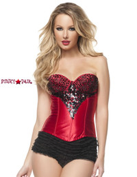 C1231, Red Corset With Black Rhinestones Made by Mysery House