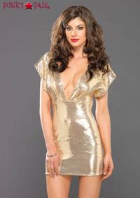 Deep V Sequin Mini Dress, LA86594