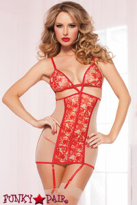 Rose Print Mesh Chemise with thong, STM-9949