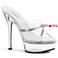 Allure-601R, 5.5 Inch High Heel with 1.5 inch platform Clear Bridal Shoes