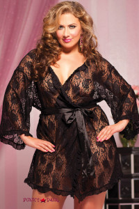 Plus Size Paisley Lace Robe