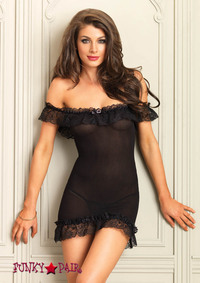 86607, Ruffle Off the Shoulder Chemise