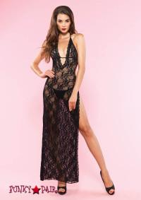 88015, Romantic Lace Side Slit Long Gown