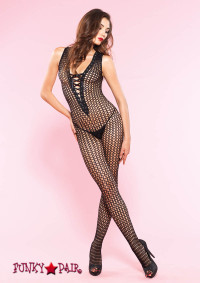 89135, Crochet Lace up Bodystocking