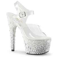 Adore-708MR-5, 7 Inch Stiletto HeelAnkle Strap Sandal with Silver Glitters and Rhinestones