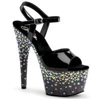 Starsplash-709, 7 Inch Ankle Strap Sandal with Stars on Platform