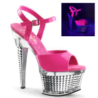Pleaser Shoes Illusion-659UV, 6.5 Inch with UV Reactive Strap Sandal