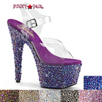 Bejeweled-708MS, 7 Inch Ankle Strap Sandal with Multi Size Rhinestones