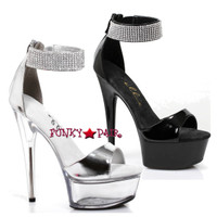 609-Haven, 6 Inch High Heel Rhinestones Ankle Cuff Sandal