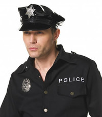 Vinyl cop hat with badge