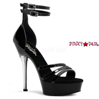 ALLURE-670, 5.5 Inch High Heel with 1.5 Inch Platform Double Ankle Strap  with Triple Strap Sandal