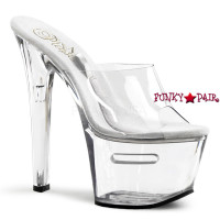 TIP JAR-701-2, 7 inch high heel with 2.75 inch platform Clear High Heels
