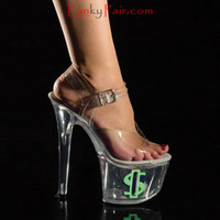 TIP JAR-708-8, 7 inch high heel with 2.75 inch platform Shoes with Neon Dollar Sign