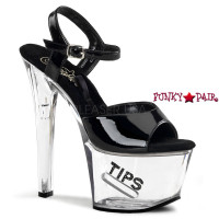 TIP JAR-709-5, 7 Inch High Heel with 2.75 Inch Platform with Ankle Strap Dancer Shoes with tips