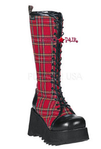 SCENE-100, 3.5 Inch Platform Plaid Knee Boot