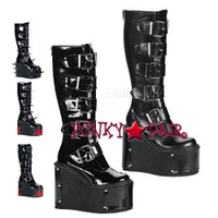 TRANSFORMER-800, 5.5 Inch Buckles Platform Knee High Women gothic boots Mady By Demonia