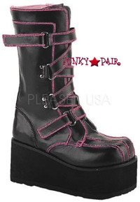 CLASH-435, goth buckle Women gothic boots Mady By Demonia
