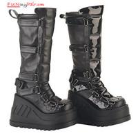 STOMP-306, 4.5 Inch Platform Gothic Knee Women gothic boots Mady By Demonia