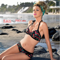2 PC Lined lycra vintage halter style cheery print bikini top *61003
