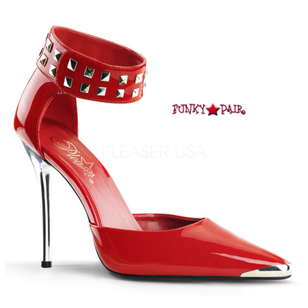 Heat-08, Spiked Ankle Cuff and Chrome Metal Heel Made By PLEASER Shoes