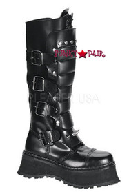 RAVAGE-II, Goth Boots with Spikes and Zipper,Demonia Gothic