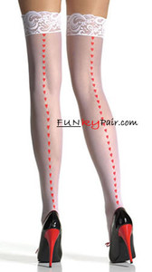1016, Sheer Lace Top Stockings with Printed Hearts Backseam