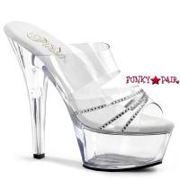 KISS-202R, 6 Inch Heel Platform Sandal with Rhinestones