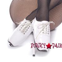 White 7 Inch High Heel fetish shoes ballet