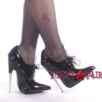 SCREAM-18BP, 6 Inch Stiletto High Heel Shiny Black Patent Stiletto Shoes Fetish Made by Devious