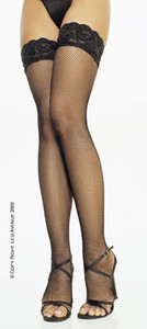9125, Fishnet Stocking with beaded lace top