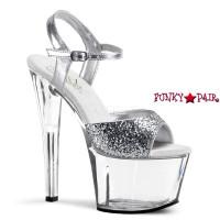 SKY-310, 7 Inch Glitter Ankle Strap Sandal