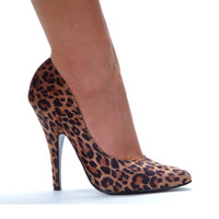 511-Safari, 5 Inch High Heel Leopard Pump Made by ELLIE Shoes