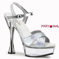 SWEET-440, 5.5 inch cone heel with 1.5 inch platform, Cone Heel Shoes with Silver Multi Glitters
