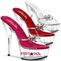 DELIGHT-601-10, 6 Inch High Heel with 1.75 Inch Platform Rhinestone Butterfly Slide Shoes