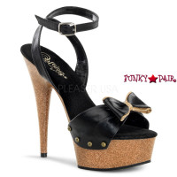 DELIGHT-642W, 6 inch stiletto heel with 1.75 inch platform Leather Ankle Wrap with Bow