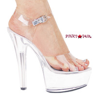 601-Brook, 6 Inch High Heel Stiletto Heel Ankle Strap Made by ELLIE Shoes